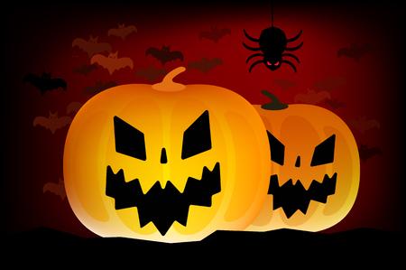 dynia: Dwa wektor halloween dynie szef odizolowane na ciemnym tle. Halloween Party wektor dyni. Głowica dynia, halloween symbole. Halloween dynia na halloween sylwetka projektowania. głowica Halloween Ilustracja