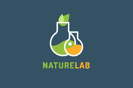Laboratory ecology vector logo. Lab Eco icon logo isolated. Chemicals, nature logo, natural logo, science logo icon,technology logo, Eco green icon logo. laboratory glassware and leaves. Lab glassware