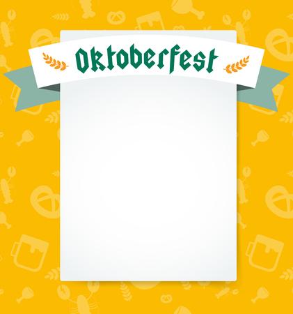 Oktoberfest celebration vector background poster. Oktoberfest vector illustration background with text. Beer Oktoberfest German festival vector background. Keg of beer, bottle beer box