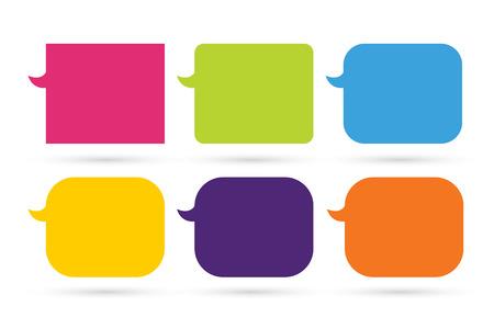 Speech vector cartoon bubble ontwerp. Beeldverhaal bellen pictogrammen instellen geïsoleerd. Set van kleurrijke vector bellen. Bubble silhouette rood, groen, blauw, oranje, geel Stockfoto - 45352162