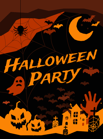 Halloween vector background banners. Pumpkin head, zombie hand, halloween symbols. Halloween silhouette for halloween party flyer invite card design. Halloween night background, ghost, banner, zombie Illustration