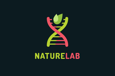 dna background: DNA vector logo. Technology biology DNA vector icon. DNA laboratory sign. Symbol of technology DNA chain isolated. DNA abstract silhouette leaves eco nature product. Leaves eco icon