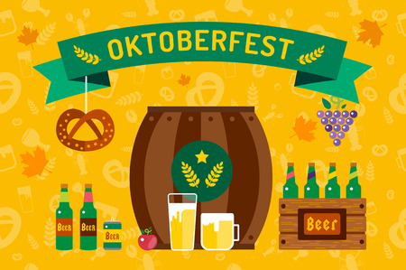 oktoberfest: Oktoberfest celebration vector background poster. Oktoberfest vector illustration background with text. Beer Oktoberfest German festival vector background. Keg of beer, bottle beer box