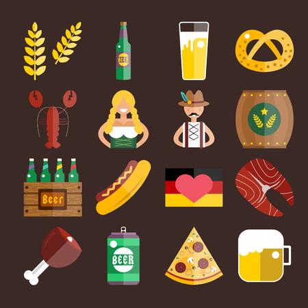 oktoberfest food: Set of flat Oktoberfest vector icons. Bottle Beer, Food and Drinks. Oktoberfest traditional German Oktoberfest festival icons, flat icons. Oktoberfest vector flat icons set