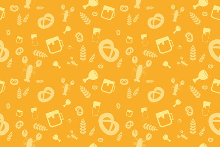 Holiday Oktoberfest Seamless Pattern. Vector German Beer Party Design Seamless Oktoberfest Background. Seamless patterns for Oktoberfest beer festival. Pattern Oktoberfest beer festival background