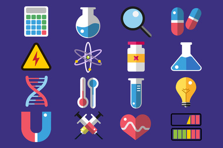 chemically: Science lab icons isolated. Science vector icons set. Education, laboratory, lab icons, science icons, microscope. Molecular symbols, atom, planet, chemistry vector icons. Technology vector icons Illustration