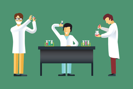 laboratory glass: Science laboratory vector people set. People in laboratory isolated silhouette. Chemist, Medical Doctor, Scientist and laboratory, science, research, biologist, lab, test, flasks icons vector illustration. People in work