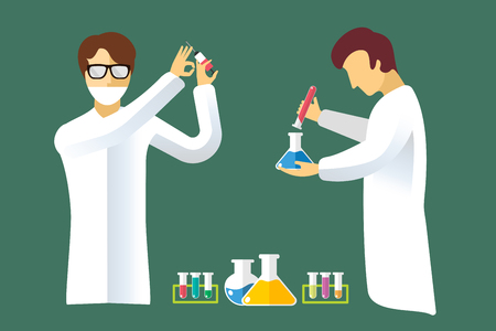 biologist: Science laboratory vector people set. People in laboratory isolated silhouette. Chemist, Medical Doctor, Scientist and laboratory, science, research, biologist, lab, test, flasks icons vector illustration. People in work