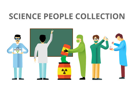 biologist: Science laboratory radiation biology vector people. People in secret laboratory isolated silhouette. Nuclear weapon, biologist, nuclear, radioactivity, radiation waste. Chemist, Medical Doctor, Scientist laboratory, science, lab people