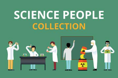 Laboratorium straling biologie vector mensen. Mensen in geheim laboratorium geïsoleerd silhouet. Kernwapen, bioloog, nucleaire, radioactiviteit, straling afval. Chemicus, Arts, Wetenschapper laboratorium, wetenschap, laboratorium mensen