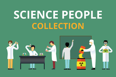 Science laboratory radiation biology vector people. People in secret laboratory isolated silhouette. Nuclear weapon, biologist, nuclear, radioactivity, radiation waste. Chemist, Medical Doctor, Scientist laboratory, science, lab people