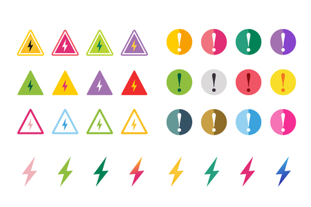 attention: Attention warning sign icons set. Warning vector icons. Warning logo. Exclamation mark. Hazard warning symbol. Triangle warning symbols isolated on white background. Warnimg, attention, stop, electric Illustration