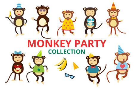 mono caricatura: Fiesta de cumpleaños del baile del mono fondo Feliz vector de la historieta. Mono de baile de cumpleaños. Cara feliz del mono, sombreros de fiesta, plátano, saltar a pie, sonrisa, juego. Vector animales mono selva de la historieta estilo plano