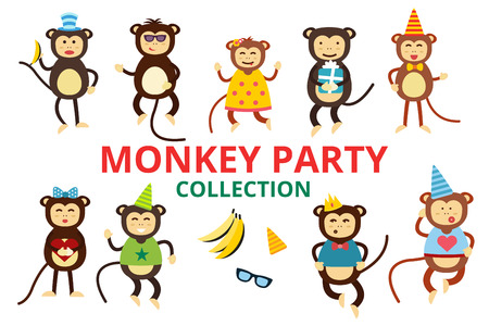 Happy cartoon vector monkey dancing party birthday background. Monkey party birthday dance. Happy monkey face, party hats, banana, jump walk, smile, play. Vector jungle monkey animals cartoon flat style Illustration