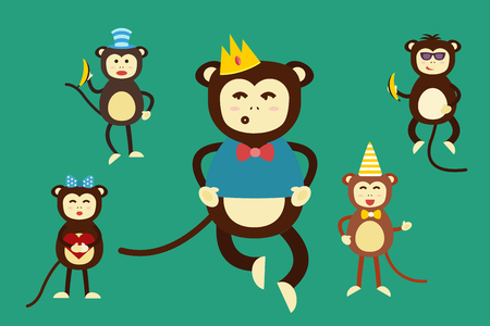 monkey face: Happy cartoon vector monkey dancing party birthday background. Monkey party birthday dance. Happy monkey face, party hats, banana, jump walk, smile, play. Vector jungle monkey animals cartoon flat style Illustration