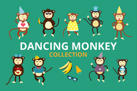 mono caricatura: Fiesta de cumplea�os del baile del mono fondo Feliz vector de la historieta. Mono de baile de cumplea�os. Cara feliz del mono, sombreros de fiesta, pl�tano, saltar a pie, sonrisa, juego. Vector animales mono selva de la historieta estilo plano