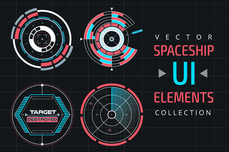 elements web: UI infographic interface web elements. Futuristic space thin user interface. Web interface elements, UI elements, UI design, UI vector icons. Circle technology design UI elements.  Flat navigation sistem Illustration