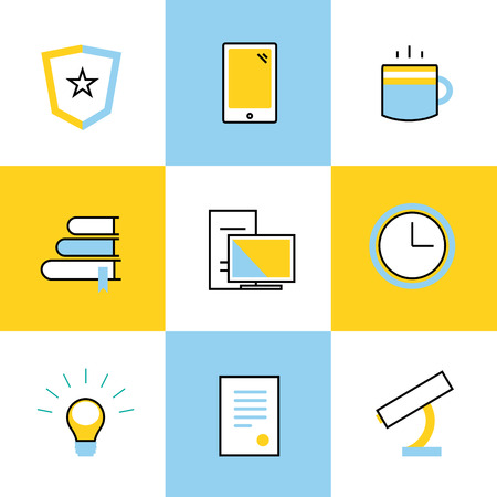 student computer: Education vector icons. Scool or university vector icons sign. Clock, books and diploma, students, computer, microscope icon. Education symbols, logo, icons