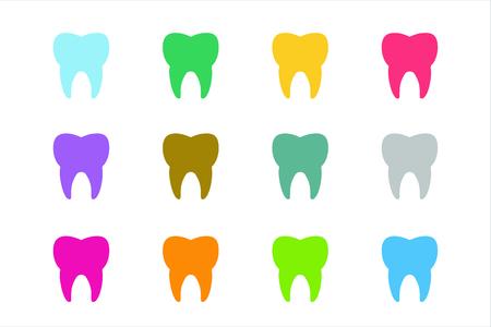 logo medicina: Establece Diente Icono del vector logotipo. Salud, médica o médico y de oficina dentista símbolos. La higiene bucal, dental, oficina del dentista, salud dental, cuidado dental, clínica. Logotipo del diente. Icono del diente. Silueta del diente