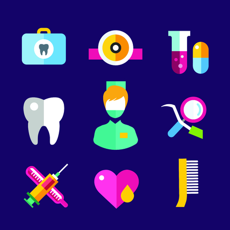 oral hygiene: Dental vector icons set. Dentist clinic icons logo. Vector tooth, heart, pills, health care, tooth care, oral hygiene, tooth logo, toothbrush. Dentist clinic doctor office tools. Tooth halth care tools icons