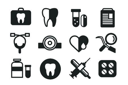 건강: 의학 벡터 아이콘을 설정합니다. 건강 관리를위한 의사 도구. 메딕 첫 도움, 병원 도구 아이콘. 벡터 helthcare 아이콘을 설정합니다. 심장, 의사, 치아 아이콘, 의학, 약,