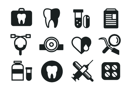 health: Medicine vector icons set. Doctors tools for health care. Medic first help, hospital tools icons. Vector helthcare icons set. Heart, doctor, tooth icon, medicine, pills, health and medical. Health medical elements Illustration