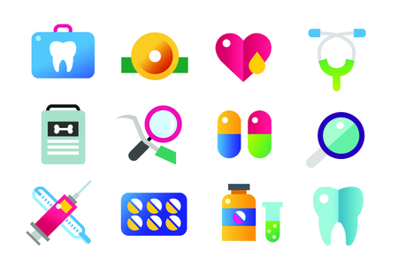 heart health: Medicine vector icons set. Doctors tools for health care. Medic first help, hospital tools icons. Vector helthcare icons set. Heart, doctor, tooth icon, medicine, pills, health and medical. Health medical elements Illustration