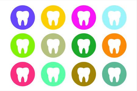 muela: Establece Diente Icono del vector logotipo. Salud, médica o médico y de oficina dentista símbolos. La higiene bucal, dental, oficina del dentista, salud dental, cuidado dental, clínica. Logotipo del diente. Icono del diente. Silueta del diente