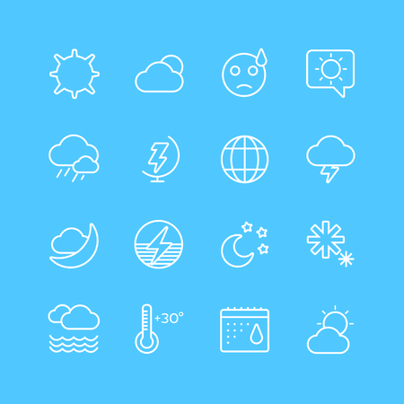 weather symbols: Weather icons outline set. Moon, sky, wind cloud, umbrella and wind. Calendar logo and weather forecast, snowflake, globe. Weather app buttons. Weather icons set. Weather symbols vector icons Illustration