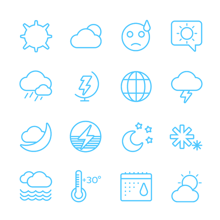 weather icons: Weather icons outline set. Moon, sky, wind cloud, umbrella and wind. Calendar logo and weather forecast, snowflake, globe. Weather app buttons. Weather icons set. Weather symbols vector icons Illustration