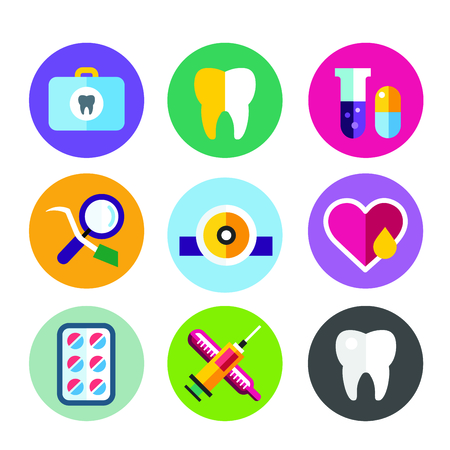 mondhygiene: Dental vector icons set. Dentist clinic icons logo. Vector tooth, heart, pills, health care, tooth care, oral hygiene, tooth logo, toothbrush. Dentist clinic doctor office tools. Tooth halth care tools icons