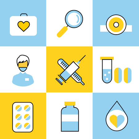 helthcare: Medicine vector icons set. Doctors tools for health care. Medic first help, hospital tools icons. Vector helthcare icons set. Heart, doctor, tooth icon, medicine, pills, health and medical. Health medical elements Illustration