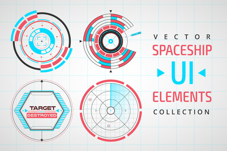 elements web: UI infographic interface web elements. Futuristic space thin user interface. Web interface elements, UI elements, UI design, UI vector icons. Circle technology design UI elements.  Flat navigation