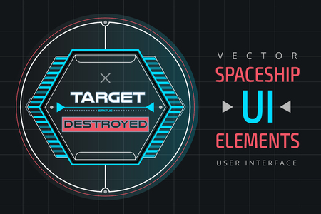 UI infographic interface web elements. Futuristic space thin user interface. Web interface elements, UI elements, UI design, UI vector icons. Game target navigation interface technology design UI flat elements