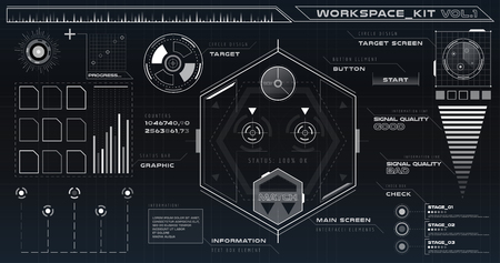 UI hud infographic interface web elements. Futuristic space thin HUD user interface. Web UI interface elements, UI elements, UI design, UI vector icons. Game target navigation interface hud ui design Illustration