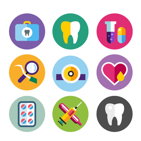 Dental vector icons set. Dentist clinic icons logo. Vector tooth, heart, pills, health care, tooth care, oral hygiene, tooth logo, toothbrush. Dentist clinic doctor office tools. Tooth halth care tools icons