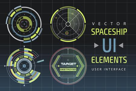 UI hud インフォ グラフィック インターフェイス web 要素。未来の宇宙船薄い HUD のユーザー インターフェイス。Web UI インターフェイス要素、UI 要素