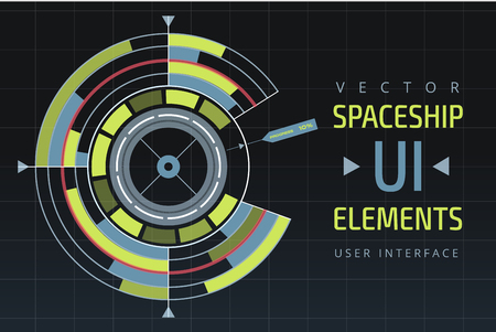 ui: UI hud infographic interface web elements. Futuristic space thin HUD user interface. Web UI interface elements, UI elements, UI design, UI vector icons. Game target navigation interface hud ui design Illustration