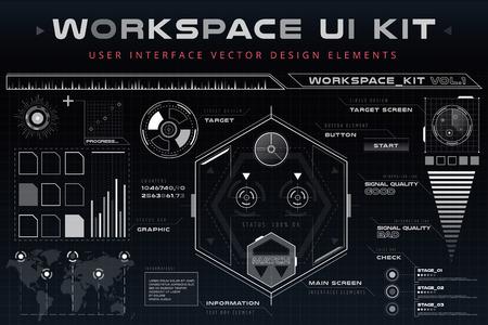 componentes: IU hud elementos web de interfaz de infografía. Espacio futurista interfaz de usuario delgada HUD. Elementos de la Web de interfaz de la interfaz de usuario, elementos de interfaz de usuario, diseño de interfaz de usuario, iconos de la interfaz de usuario del vector. Interfaz de juego de navegación de destino diseño hud ui Vectores