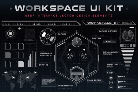 components: UI hud infographic interface web elements. Futuristic space thin HUD user interface. Web UI interface elements, UI elements, UI design, UI vector icons. Game target navigation interface hud ui design Illustration