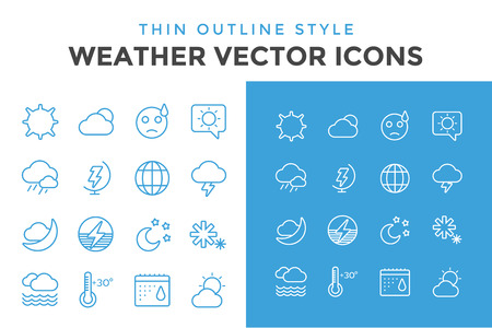 Weather icons outline set. Moon, sky, wind cloud, umbrella and wind. Calendar logo and weather forecast, snowflake, globe. Weather app buttons. Weather icons set. Weather symbols vector icons Illustration