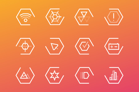 interface design: Outline vector UI technology icons set. Web net vector ui hud gui user interface for web and mobile. Application, web interface, GUI interface, UI interface icons, HUD web interface icons. Simple flat web icons
