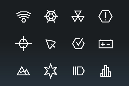 user interface: Outline vector UI technology icons set. Web net vector ui hud gui user interface for web and mobile. Application, web interface, GUI interface, UI interface icons, HUD web interface icons. Simple flat web icons