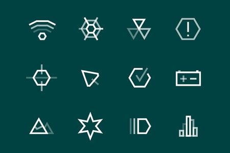tech: Outline vector UI technology icons set. Web net vector ui hud gui user interface for web and mobile. Application, web interface, GUI interface, UI interface icons, HUD web interface icons. Simple flat web icons