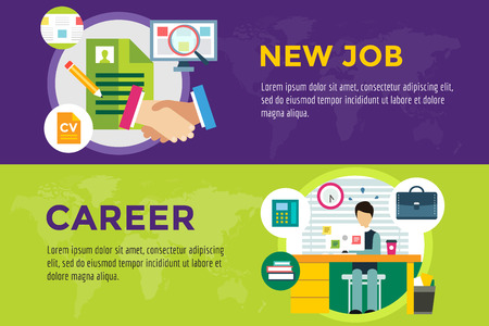 New job search and career work infographic. Cv, head hunters, job search, new work. Labor Day. Office life and business man. Business situation. People in action. Computer, table, books, clock Illustration