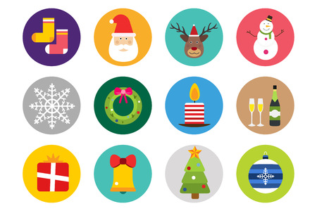 christmas cake: Christmas vector icons set. Christmas tree, Christmas ball, Christmas letter, Christmas Santa, Christmas cake. Christmas Gift, socks, ball, snowflake, Christmas Decoration symbols. 2016 New Year icons