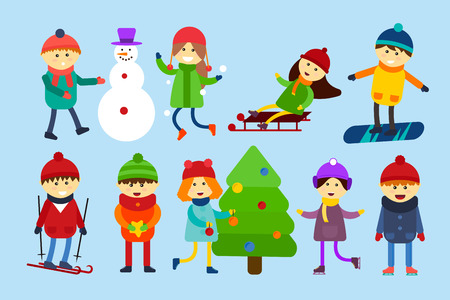 baby playing toy: Winter holidays background. Christmas kids playing winter games. Skating, skiing, sledding, girl dresses up Christmas tree, boy makes a snow man, children playing snowballs. Cartoon New Year kids vector collection