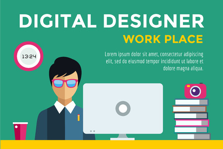 designer: Designer at workplace vector silhouette. Designer boy work infographic. People at work. Creative office life. People in action. Computer, table, books, clock, coffee cup. Digital designer silhouette
