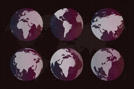 globe: Wereld vector kaart. Earth wereldbol textuur kaart. Globe vector kaartweergave vanuit de ruimte. Silhouet bol van de aarde. Technologie achtergrond, aardrijkskunde wereld vector aarde. Globe silhouet, kaart van de wereld, behang aarde kaart, aarde textuur