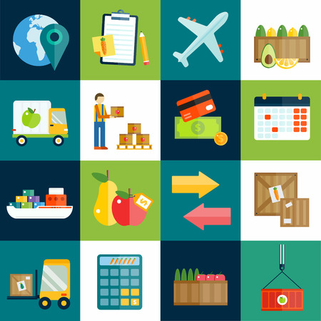 Import export fruits and vegetables delivery vector icons set. Vector flat icons infographic. Colorful modern design flat icons, import export symbols, delivery, shipping,  plain, fruits logistics. Delivery vector icons Иллюстрация